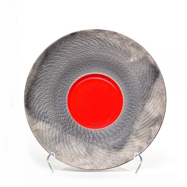 black and red raku bowl, clay wall art