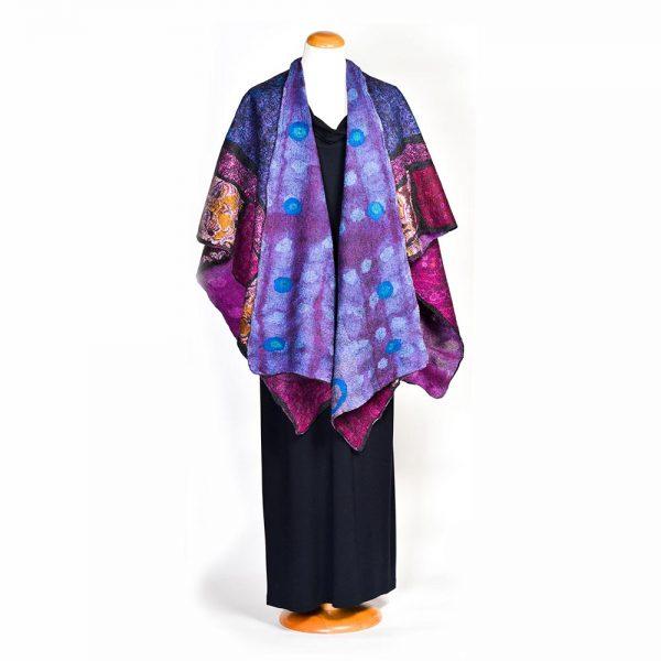 multicolored felted shawl, felted shawl