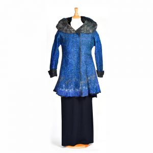 felted blue coat with large gray color
