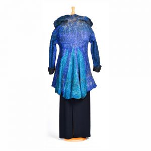 back view of blue felted coat,
