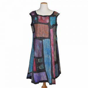 felted patchwork dress, handmade unique dress, one-of-a-kind felt