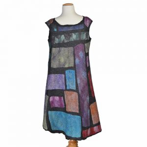 back view of felted patchwork dress, handmade unique dress, one-of-a-kind felt
