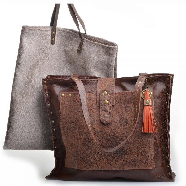 handmade leather bag with dust bag