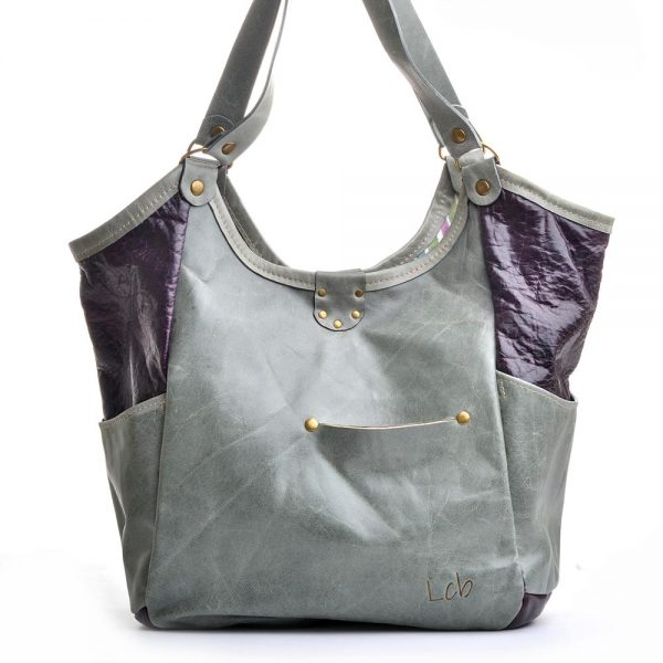back view of colorful hobo leather bag