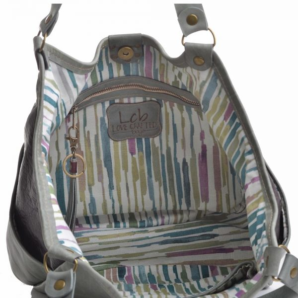 interior view of colored hobo bag