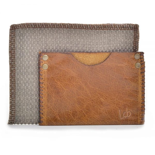 tan leather cardholder with dust bag