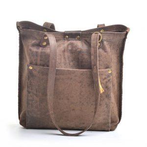 dark brown recycled leather handmade tote bag