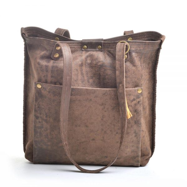dark brown recycled leather handmade tote bag