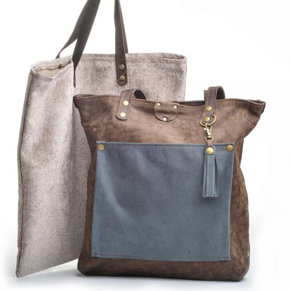 leather bag with dust bag, brown and leather handcrafted recycled leather bag