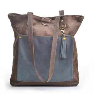 brown and blue leather tote bag, handmade leather purse, leather pocketbook, recycled leather bag,