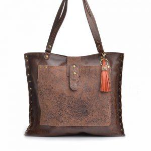 dark brown leather bag, handmade handbags, recycled leather