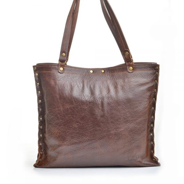 handmade dark brown leather square tote