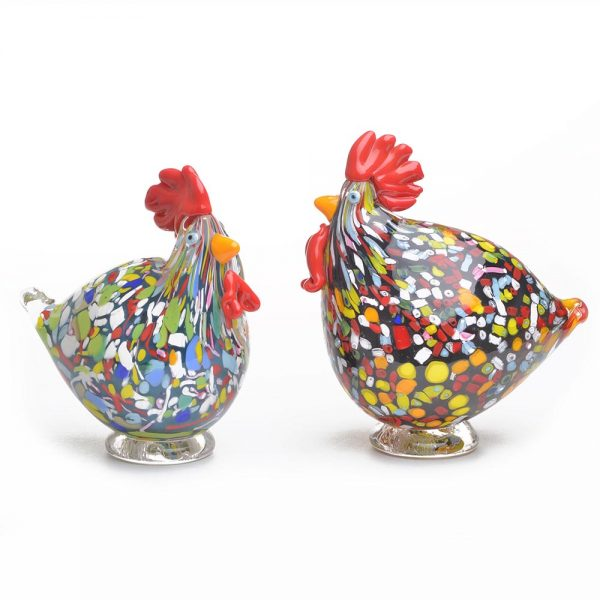 asheville glassblowing, handmade glass chickens, colorful whimsical glass chickens, penland glass, bernstein glass