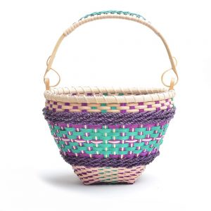 colorful handwoven basket with top handle turquoise and purple basket