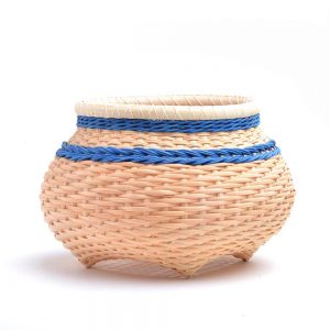 natural and blue basket, handmade basket, nc basketmaker, billie ruth sudduth,