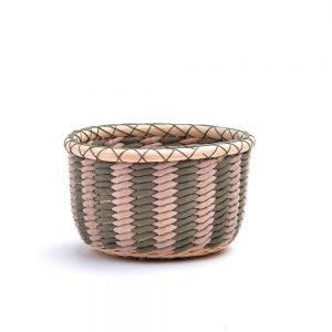 nontraditional weaving materials, small basket bowl, green and natural handwoven bowl