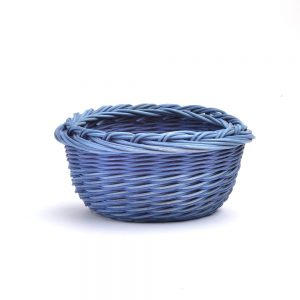 small round blue basket, handwoven blue basket without a handle