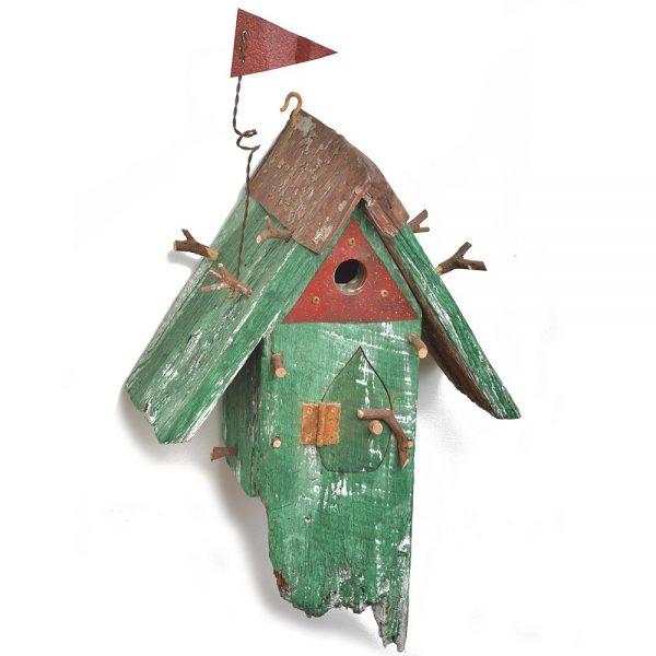 unique handmade birdhouse, green found wood birdhouse, nc woodworker, large handmade birdhouse