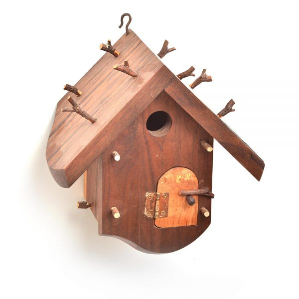 functional handmade unique birdhouse, found wood artwork, nc home and garden decor