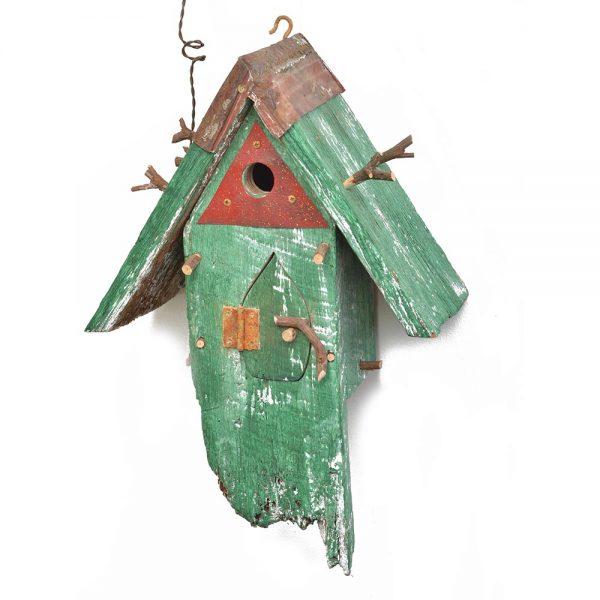 funky birdhouse, handmade wooden and rusty metal birdhouse, folk art birdhouse