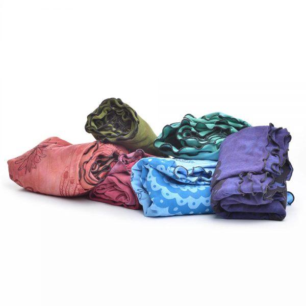 bamboo scarves, hand printed soft decorative scarf, handmade scarf, folk art center, jude