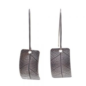 silver leaf earrings, long rectangle earrings with the impression of a leaf