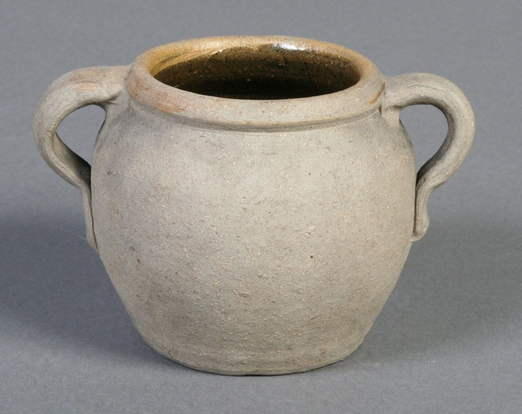 Two Handled Bean Pot, 1924, B.P., stoneware - grey pot, unglazed outside, brown glaze inside, Bean pot shape with two handles.