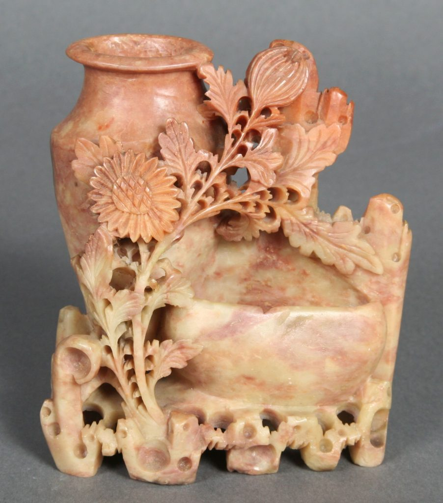 Vase and Lower Basin, Chinese, c. 1920, soapstone - intricately carved flowers connecting upright vase and lower basin.