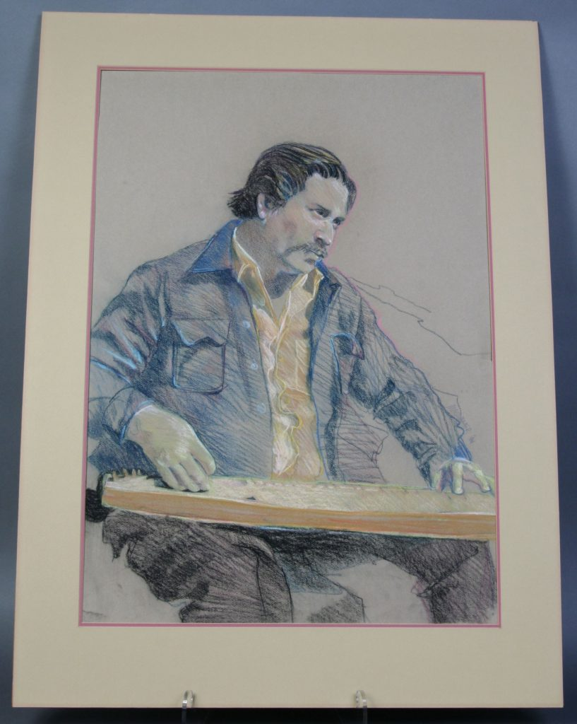 Edsel Martin - Drawing, 1981, M.A. Summer, woodworker Edsel Martin is portrayed playing one of his dulcimers. The artwork was part of a series of drawings to celebrate the opening of the Folk Art Center that hung in the McDonald's restaurant in Oteen for many years.