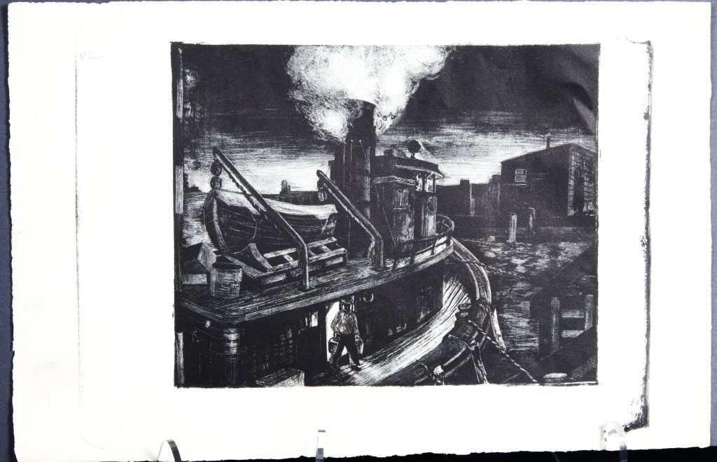 Tugboats Tied to a Dock at Night, 1935, Mabel Butensky, lithograph - black on white.