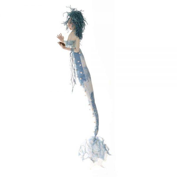 blue handmade mermaid, nc dollmaker,