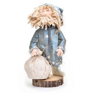 blue santa, handmade santa doll, unique santa, nc artist santa,