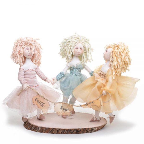 handmade dolls, faith hope and love, fairy dolls, handmade appalachian tradition, john c cambell dolls