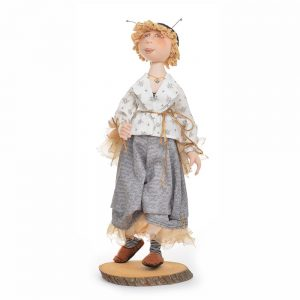 save the bees, handmade fabric doll with bee motif, save the honey bees, bee keeper gift