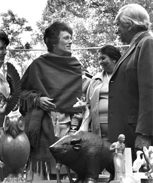 Second Lady Joan Mondale with Goingback Chiltoskey at the groundbreaking for the Folk Art Center in 1980.