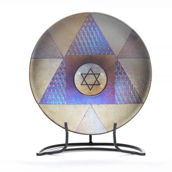 hermetic seal, star of david glass platter, jewish art, fused glass
