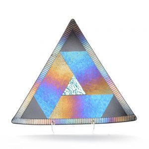 fused glass triangle, metallic iridescent glass tray
