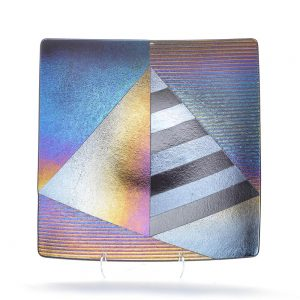 fuzed glass plate, pyramid art, modern glass art