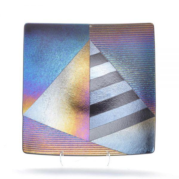fuzed glass plate, pyramid art, modern glass art