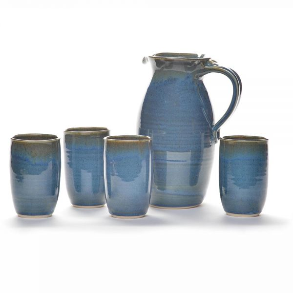 pitcher and cups, handmade pottery, nc clay, asheville pottery,