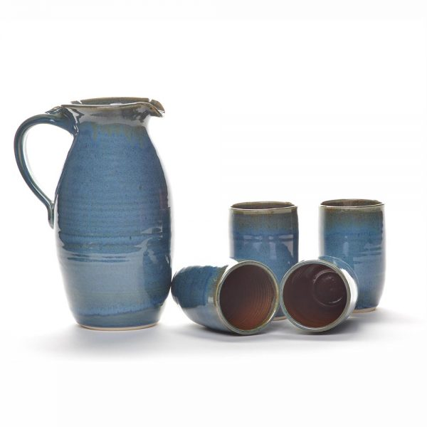 blue pitcher set, pitcher and tumblers, handmade margarita set,
