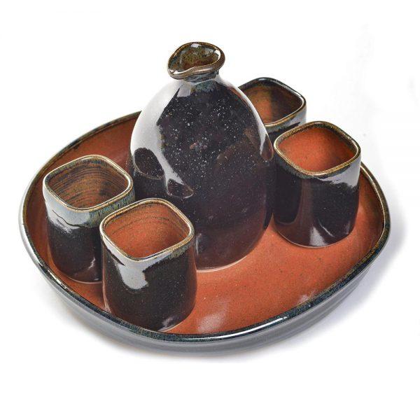 handmade sake set, ceramic sake service, folk art center, nc sake