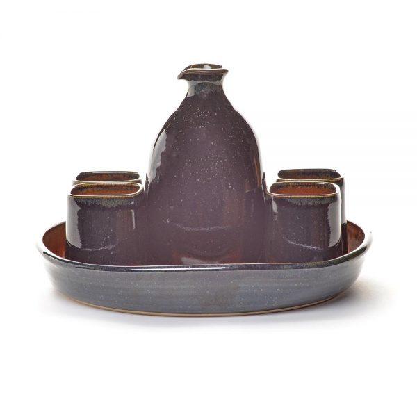 black and red sake set, handmade sake, nc pottery