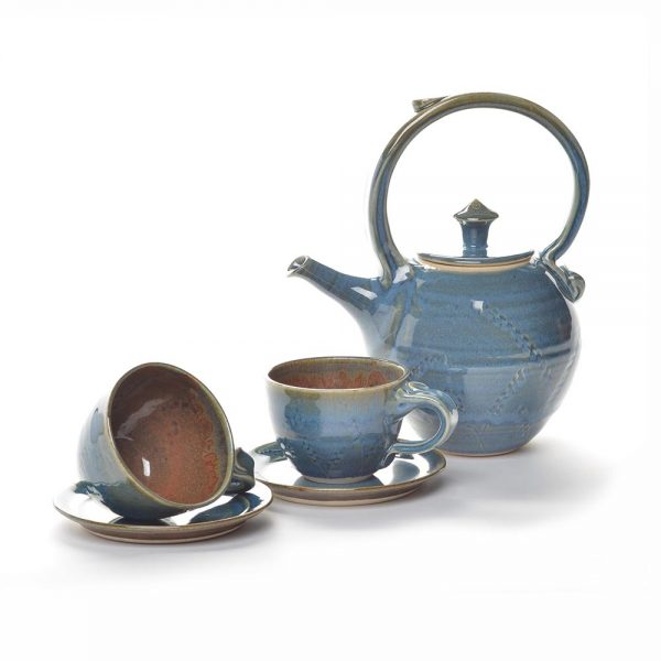 blue and brown teaset, handamde pottery, weaverville pottery, mangum pottery