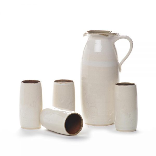 pitcher and tumblers, white wheel thrown pitcher and 4 cups, handmade pitcher set