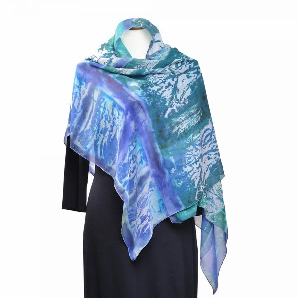 blue and green chiffon scarf, hand dyed scarf, light wrap