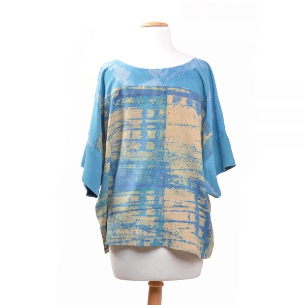 back view of blue and cream hand dyed top, boxy handmade shirt