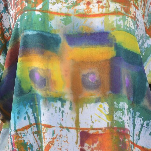 detail of hand dyed silk tunic shirt