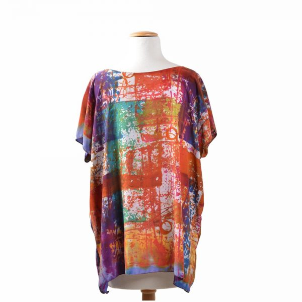 back view of hand dyed silk top, art clothings