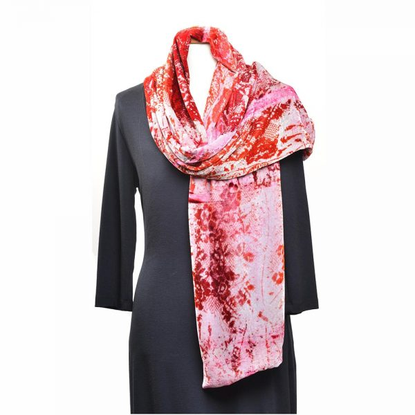 hand dyed lace velvet scarf, red and white hand dyed scarf, folk art center, modern craft